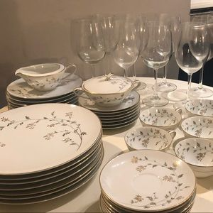 Other - Gold Rim Dishware and Wine Glasses